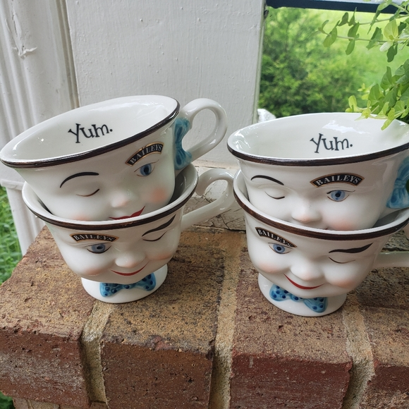 Vintage Bailey's Winking Face Mugs